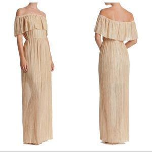 Dress the Population gold off the shoulder gown